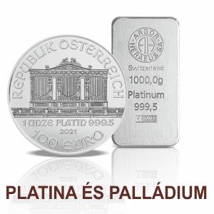 Platina és palládium rudak, érmék