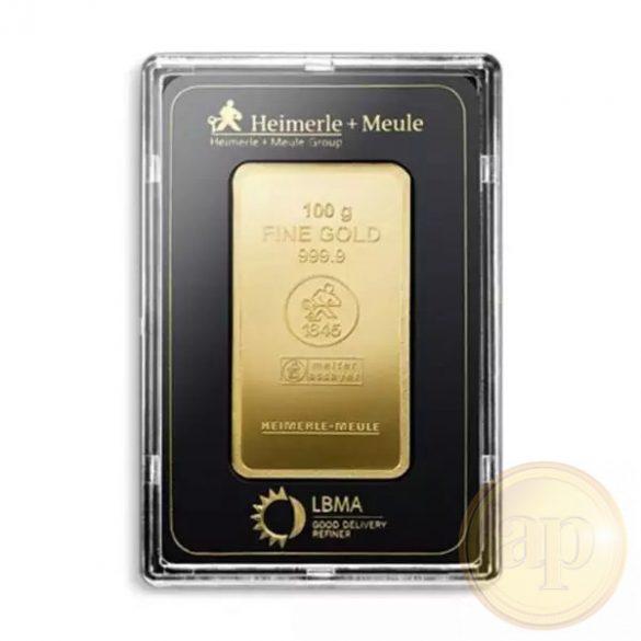 Más nemzetközi gyártó (C.Hafner, Heimerle, Heraeus stb.) aranyrúd, 100 gramm