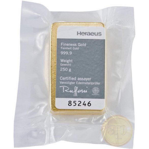 Más nemzetközi gyártó (C.Hafner, Heimerle, Heraeus stb.) aranyrúd, 250 gramm
