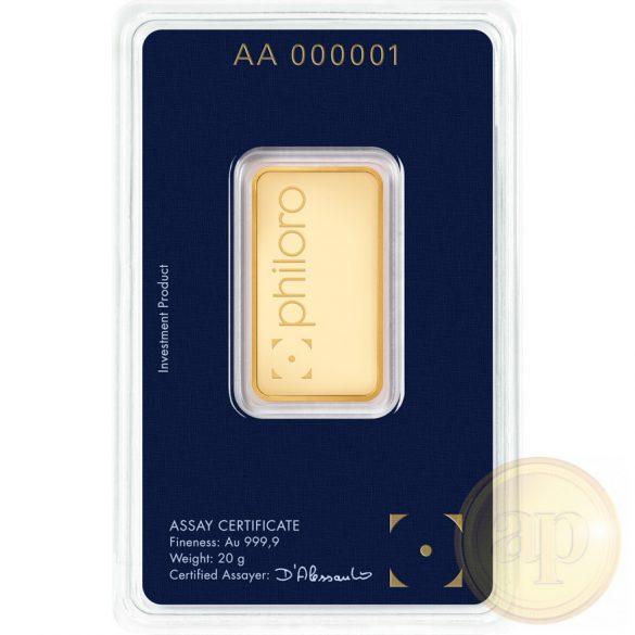 Más nemzetközi gyártó (C.Hafner, Heimerle, Heraeus stb.) aranyrúd, 20 gramm