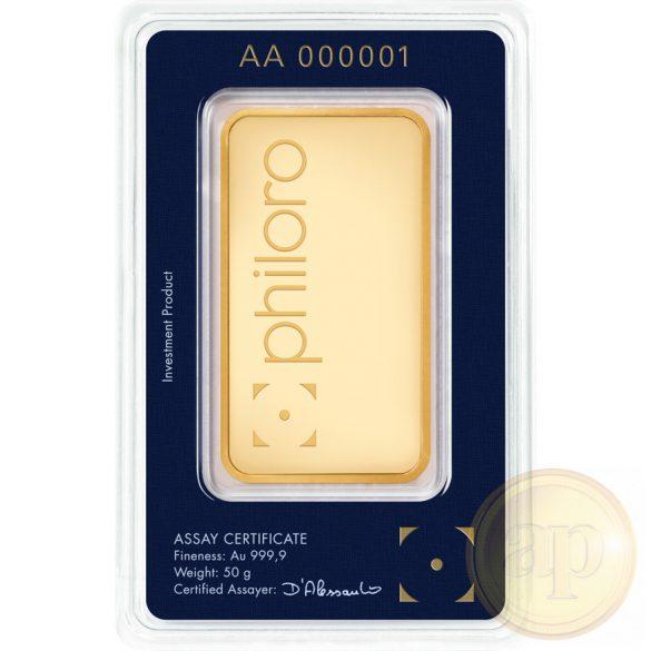 Más nemzetközi gyártó (C.Hafner, Heimerle, Heraeus stb.) aranyrúd, 50 gramm