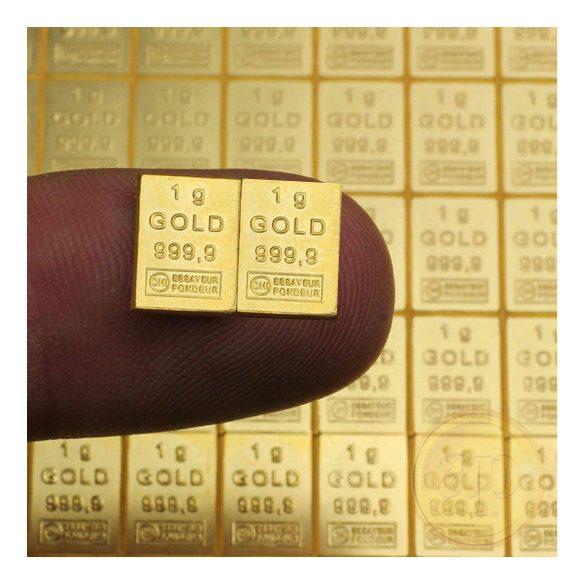 Aranytábla részlet (Heimerle, Valcambi) aranyrúd, 2 grammos egységben