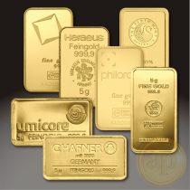 Más nemzetközi gyártó (C.Hafner, Heimerle, Heraeus stb.) aranyrúd, 5 gramm