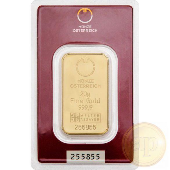 Argor Heraeus, Münze Österreich aranyrúd, 20 gramm