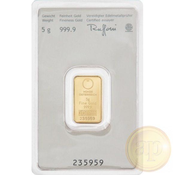 Argor Heraeus, Münze Österreich aranyrúd, 5 gramm