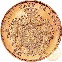 Belgium - 20 frank, II. Lipót, 1867-1882