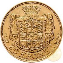 Dánia - 20 korona, X. Keresztély, 1913-1931